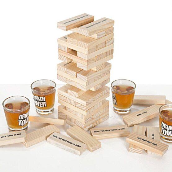 Игра за надпиване – дървена кула и 4 стъклени чашки за шот