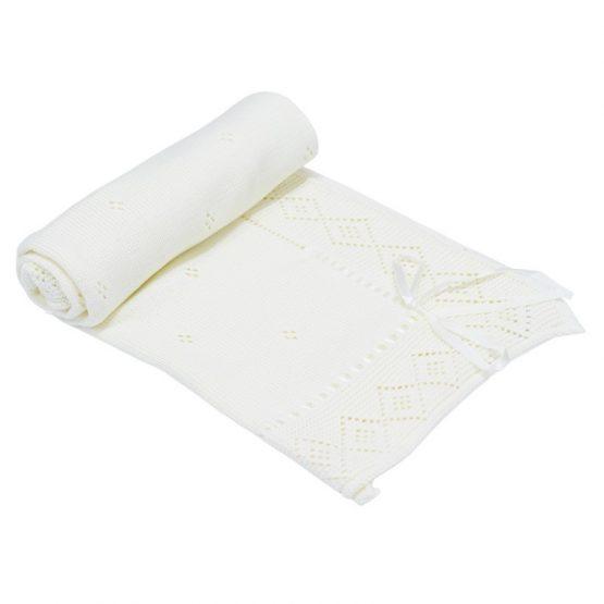 Бебешко плетено одеяло – панделка, бяло