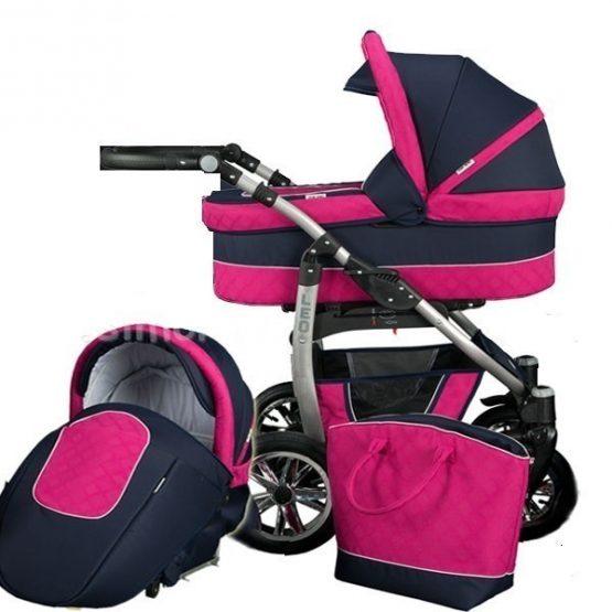 Детска количка 2 в 1, Baby Merc, модел Leo – Черно / Розово