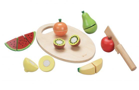 Детски дървен комплект за рязане – плодове