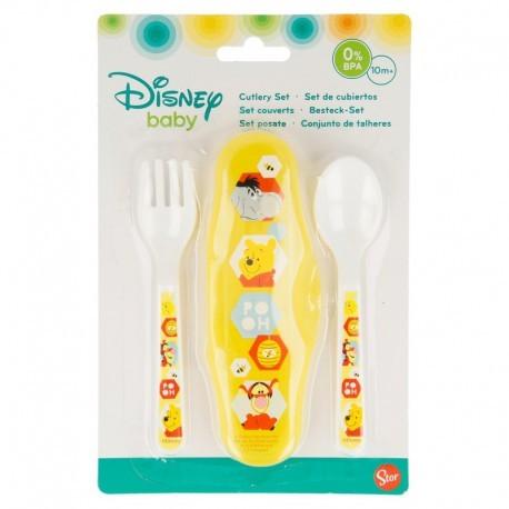 Комплекти от 2 части прибори за хранене за малко дете с картинка winnie the pooh hugs and honey
