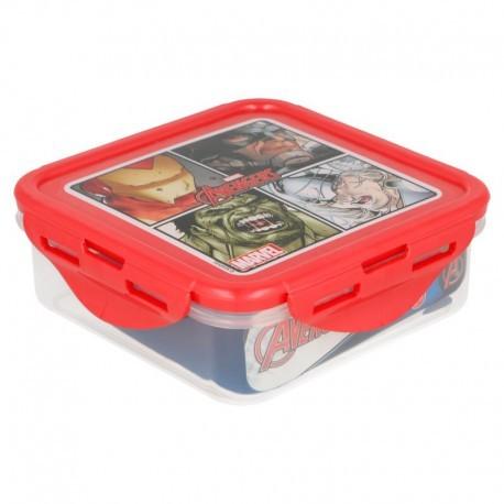 Квадратни херметически затварящи се кутии за храна с картинка avengers