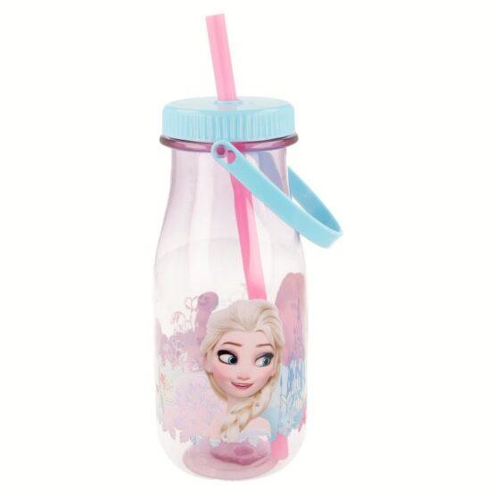 Stor тританова бутилка със сламка и дръжка Frozen 370 мл за момиче